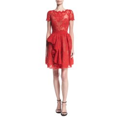 Catchy Quick Marchesa Floral Lace Dress Red Cap Sleeves Dress Neiman Marcus Cap Sleeve Dress Per Cap Sleeve Dress Amazon