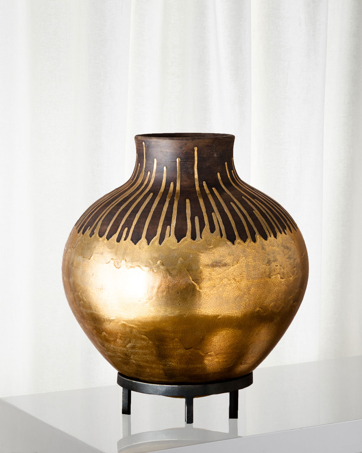 Vase Gold Anasazi Gold Drops On Stand Vase