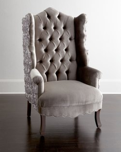 Admirable Haute House Isabella Rosette Wingback Chair Neiman Marcus Wing Back Chair Fabric Wing Back Chair Cover