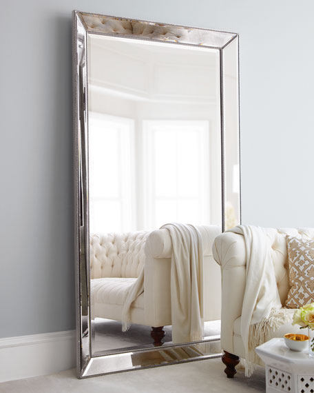 Beveled Mirror Wood Frame Antiqued Silver Beaded Floor Mirror