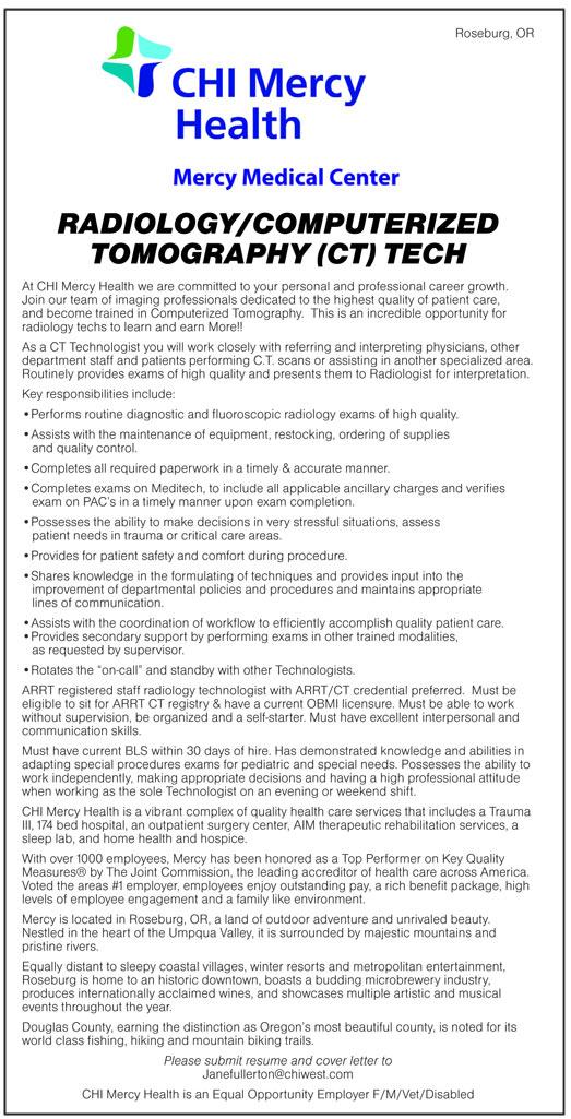 Radiology/Computerized Tomography (CT) Tech job in Roseburg Oregon - radiologist job description