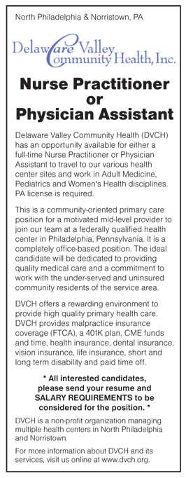 Nurse Practitioner or Physician Assistant job in North Philadelphia - Physician Assistant Job Description