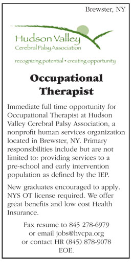 Occupational Therapist job in Brewster New York - Healthcare Jobs - occupational therapist job description