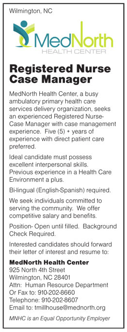 Registered Nurse Case Manager job in Wilmington North Carolina - case management job description