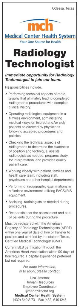 Radiology Technologist job in Odessa Texas - Healthcare Jobs