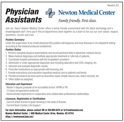 Physician Assistants job in Newton Kansas - Healthcare Jobs - Physician Assistant Job Description
