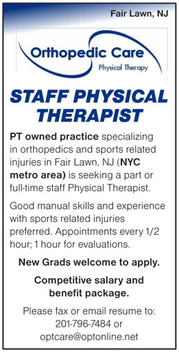 Staff Physical Therapist job in Fair Lawn New Jersey - Healthcare