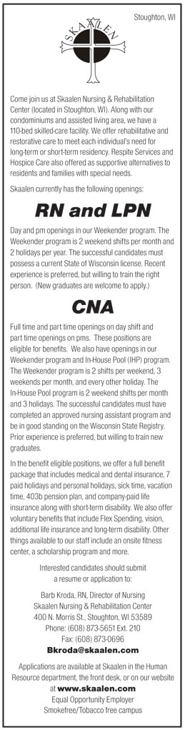 RN and LPN, CNA job in Stoughton Wisconsin - Healthcare Jobs