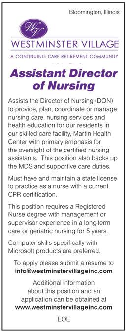 Assistant Director of Nursing job in Bloomington Illinois