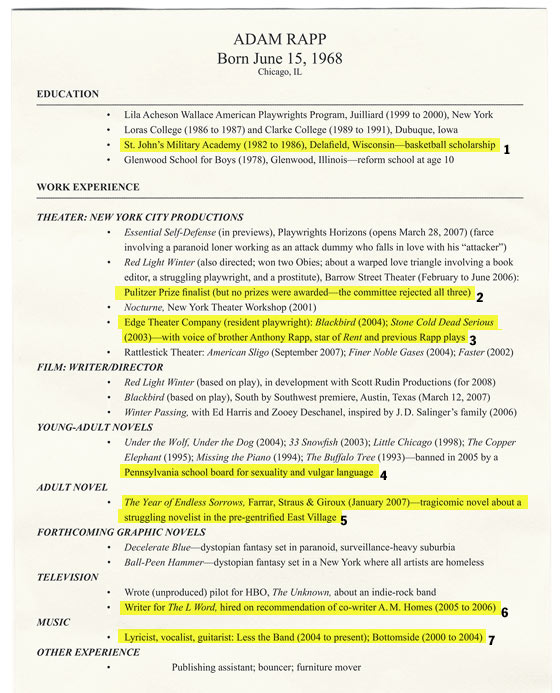 playwright resume examples