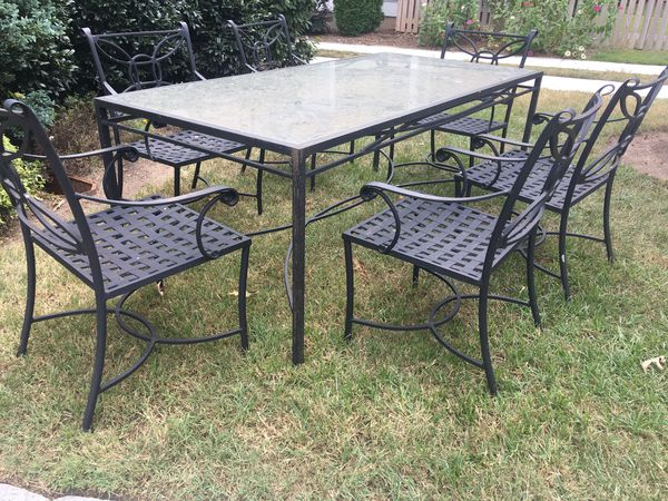 Sold Outdoor Indoor Patio Dining Table With Glass Top And
