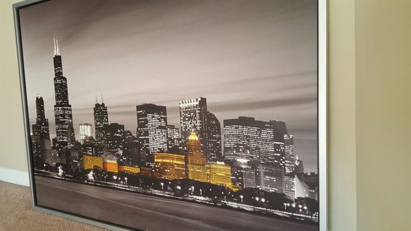 "Ikea Near Chicago Ikea Klamby Picture, Chicago Skyline, 55x39 ¼ "" For Sale"