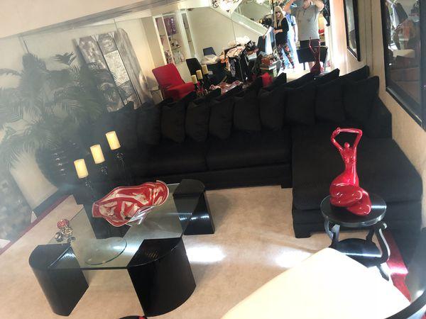 Black Designer Sofa Bed Black Couch Black Sectional Cloth