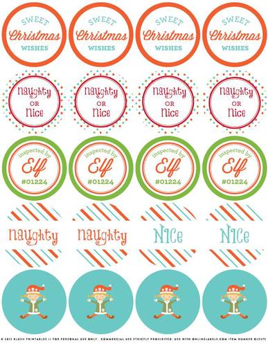 Christmas Elf Assorted Printable Round Stickers - Label Templates