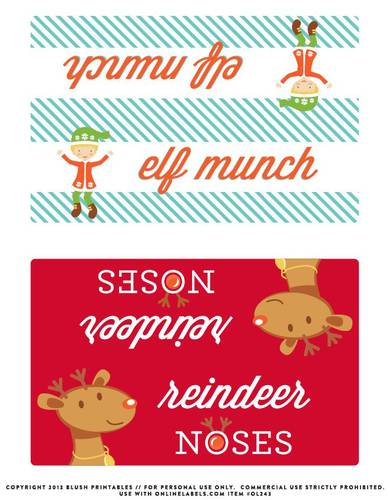 Christmas Bag Toppers Label Printable for Elf Munch - Label