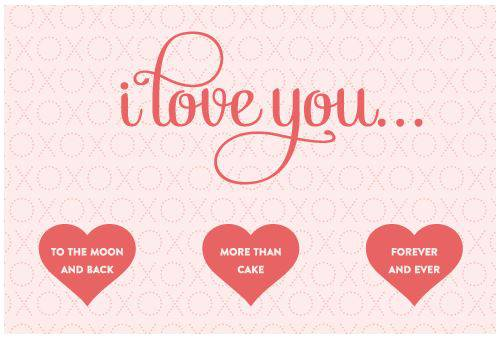 I Love You Printable Cards With Hearts - Label Templates - OL243