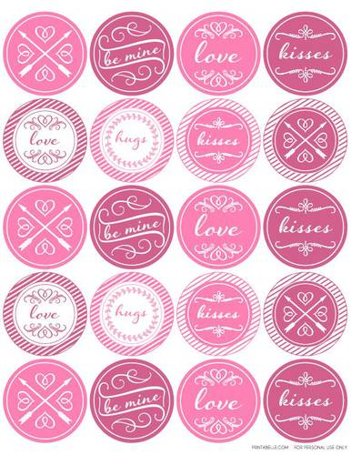 Round Valentine\u0027s Day Themed Printable Label Design - Label