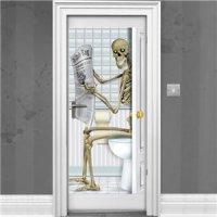 Skeleton Bathroom Door Decoration - 1.5m   Party Delights