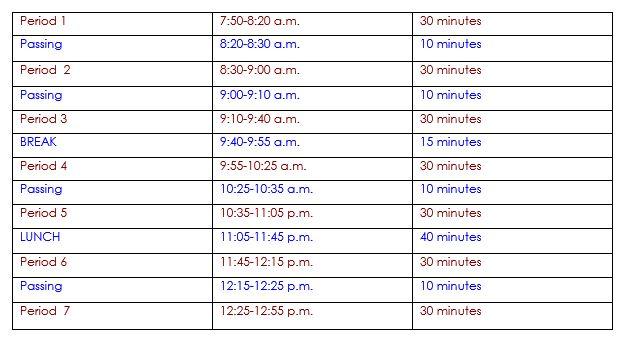 Santa Maria High School Schedule
