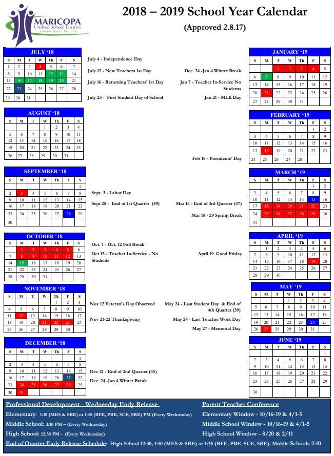 School Year Calendars Maricopa USD