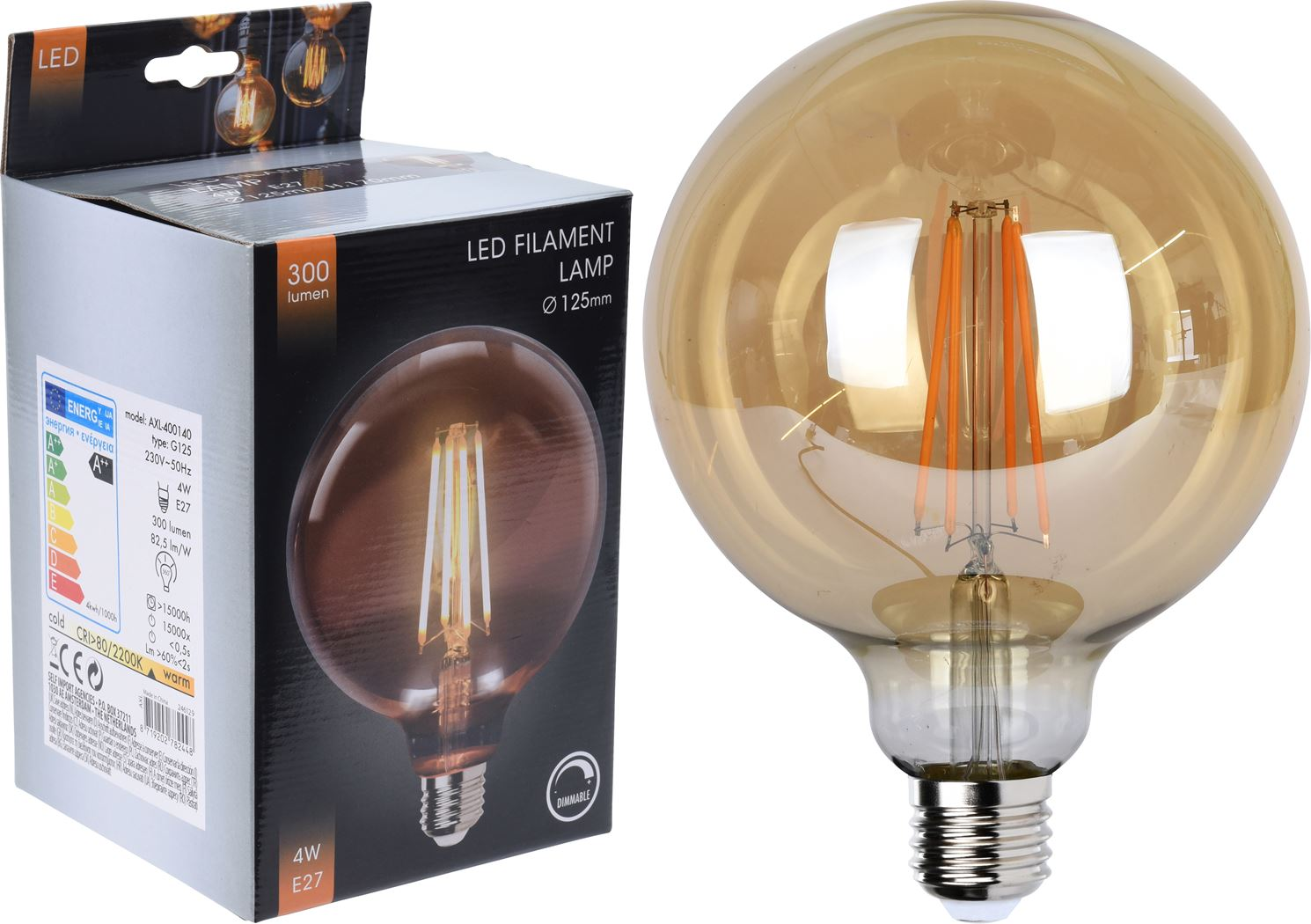 Led Lamp G125 Amber Dimbaar Tuincentrum Pelckmans