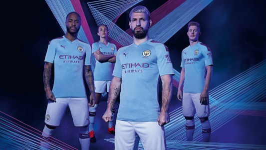 Man City Kits 2019 20 Treble Winners Reveal 125 Year Anniversary Home And Away Shirts As Sergio