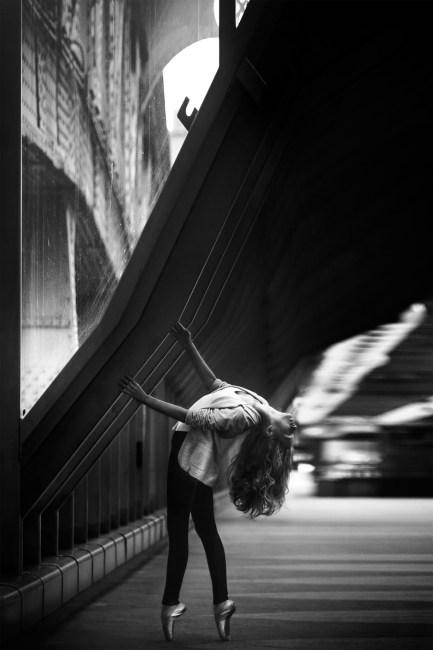Small Cute Girl Wallpaper Woman Doing Ballet Dance On Side Walk In Grayscale Photo