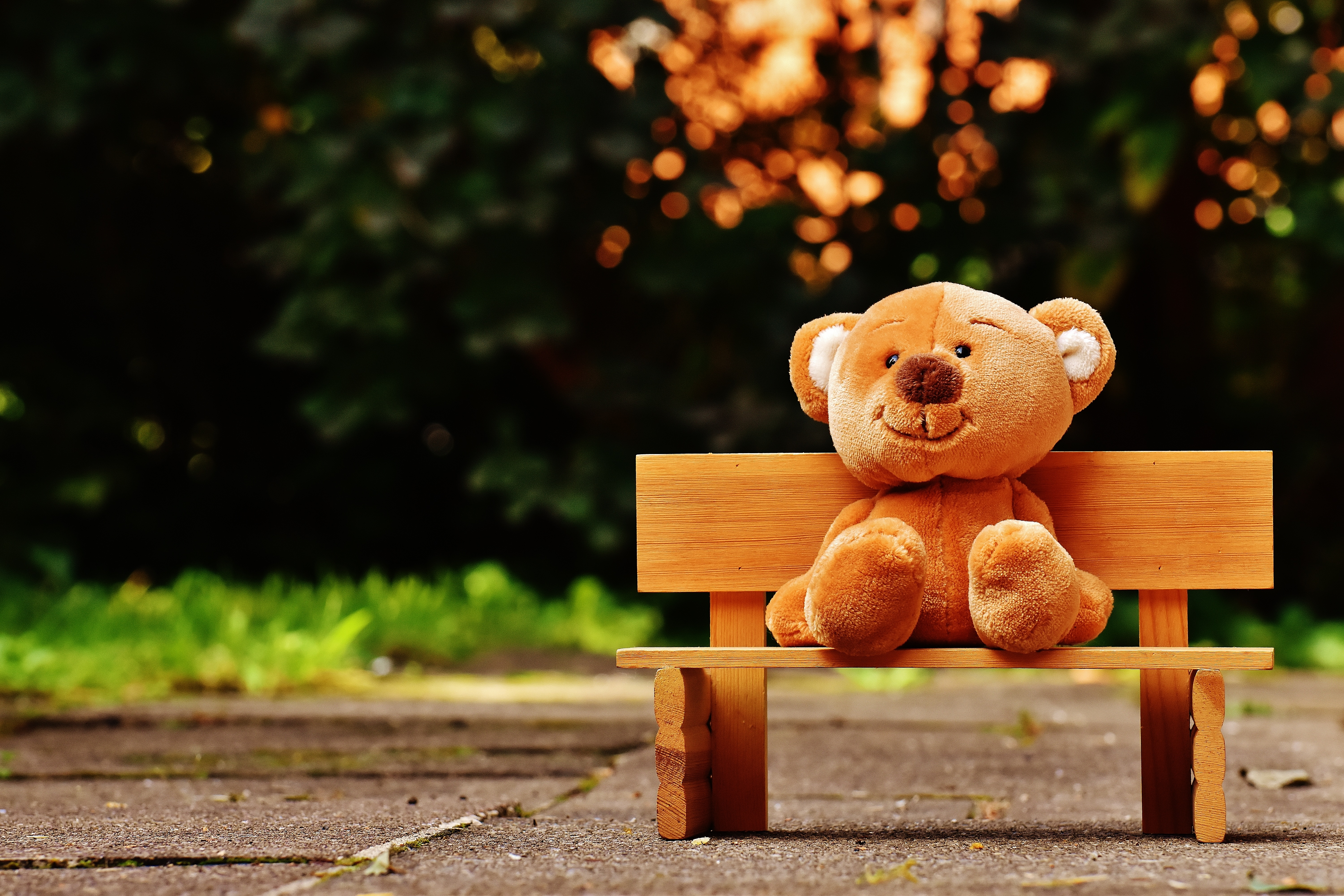 Download Cute Couple Wallpaper With Quotes Brown Teddy Bear On Brown Wooden Bench Outside 183 Free