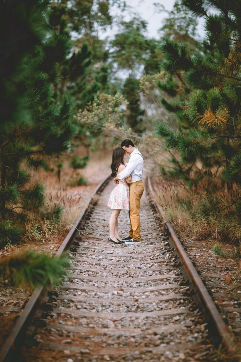 Girl Couple Wallpaper Couple On Railroad 183 Free Stock Photo