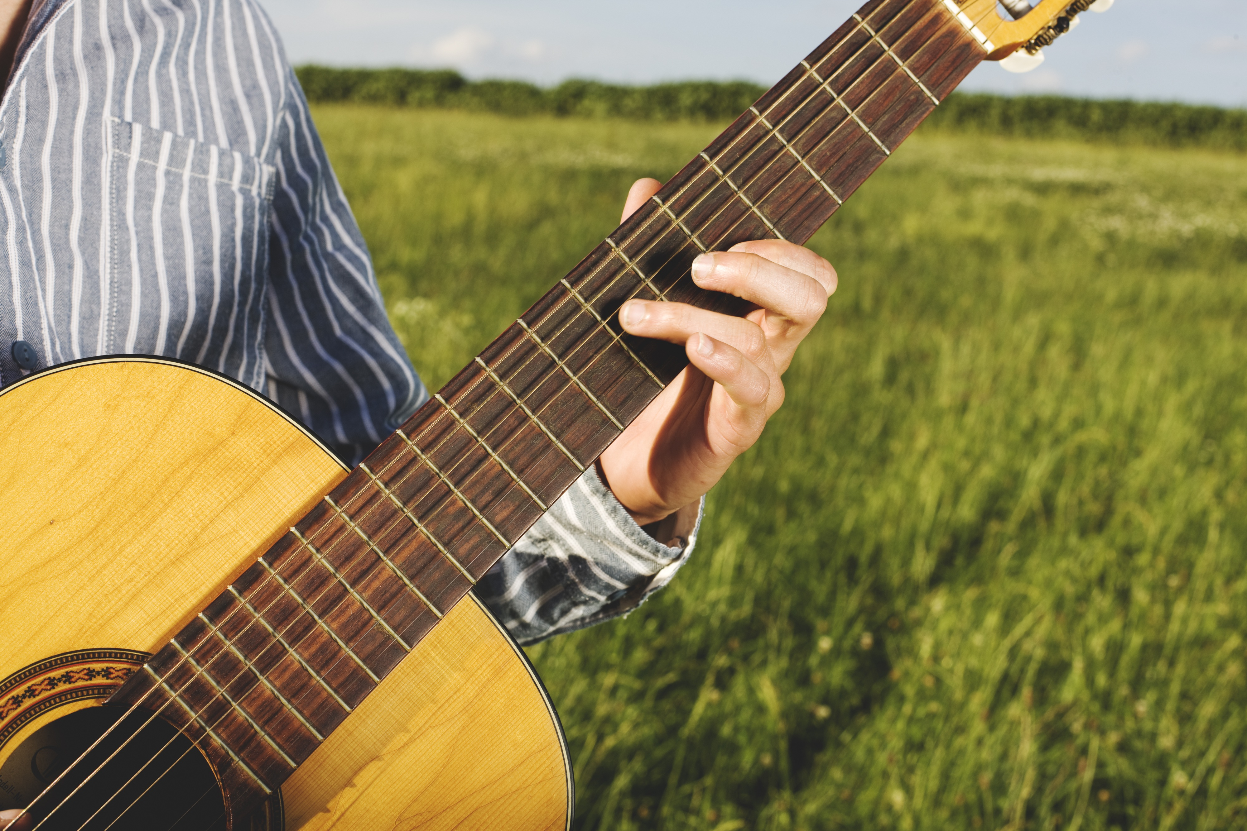 Country Girl Wallpaper Woman Sitting Holding Guitar 183 Free Stock Photo