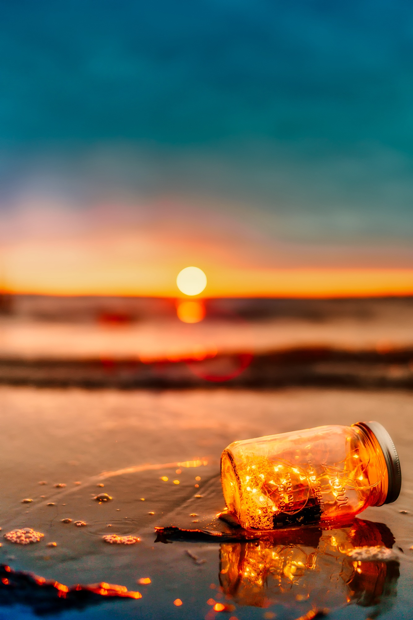 Free Photography Stock Orange Mason Jar In Body Of Water Free Stock Photo
