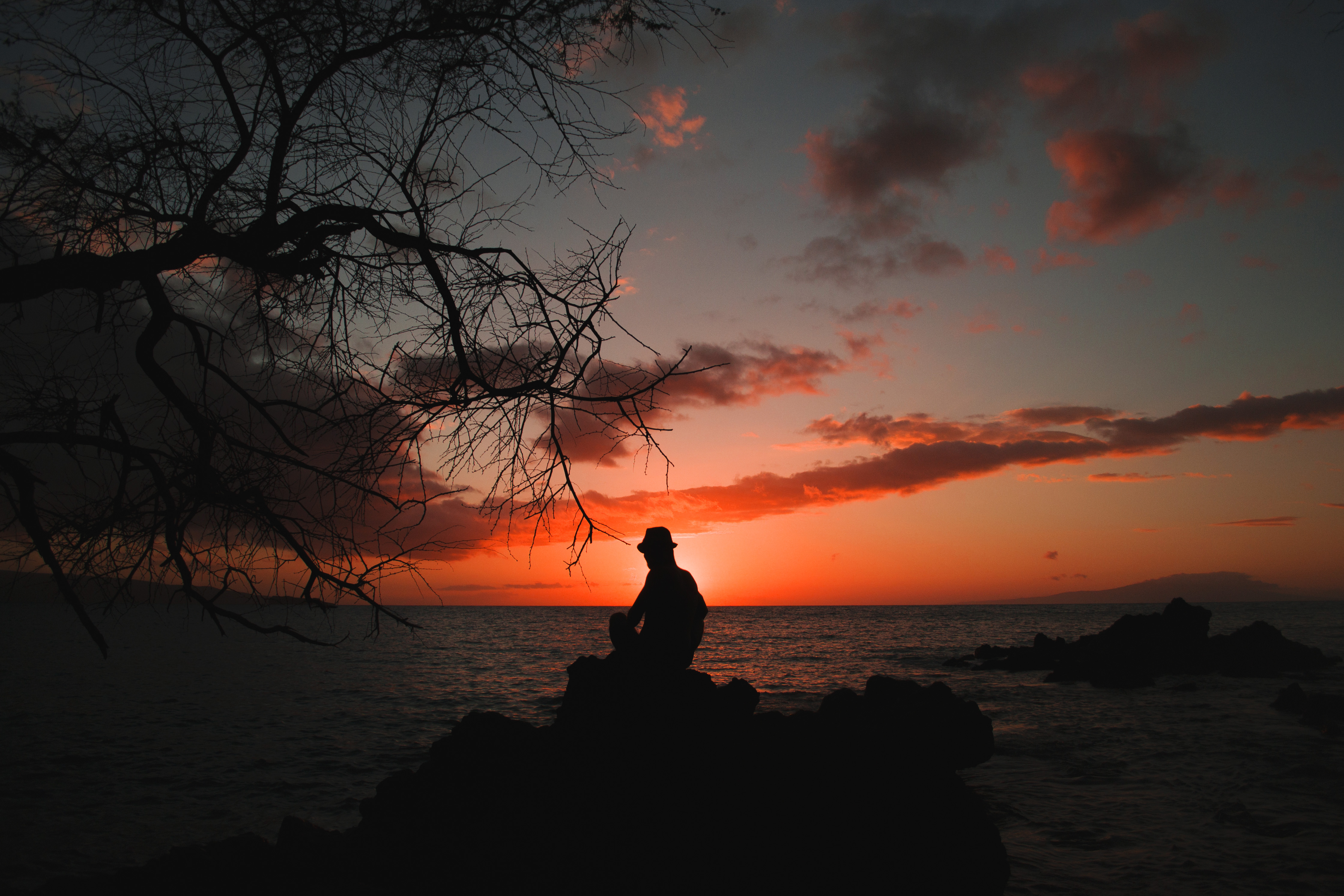 Black Wallpaper 4k Rear View Of Silhouette Man Against Sky During Sunset