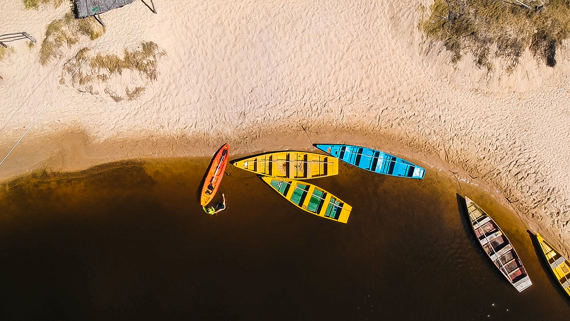 Black Abstract Wallpaper Top View Of Assorted Colored Row Boats 183 Free Stock Photo