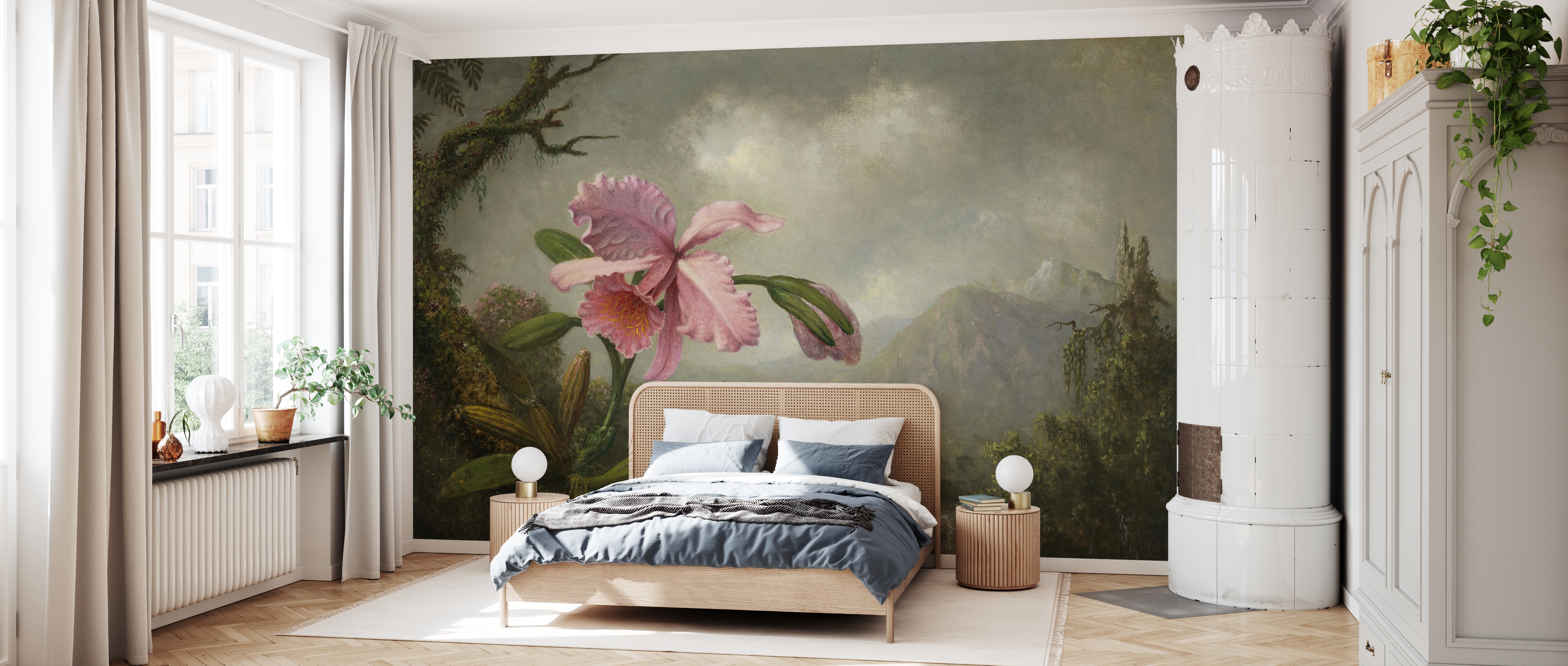 Orchid And Hummingbird Martin Johnson Heade Mit Fototapeten Einrichten Photowall