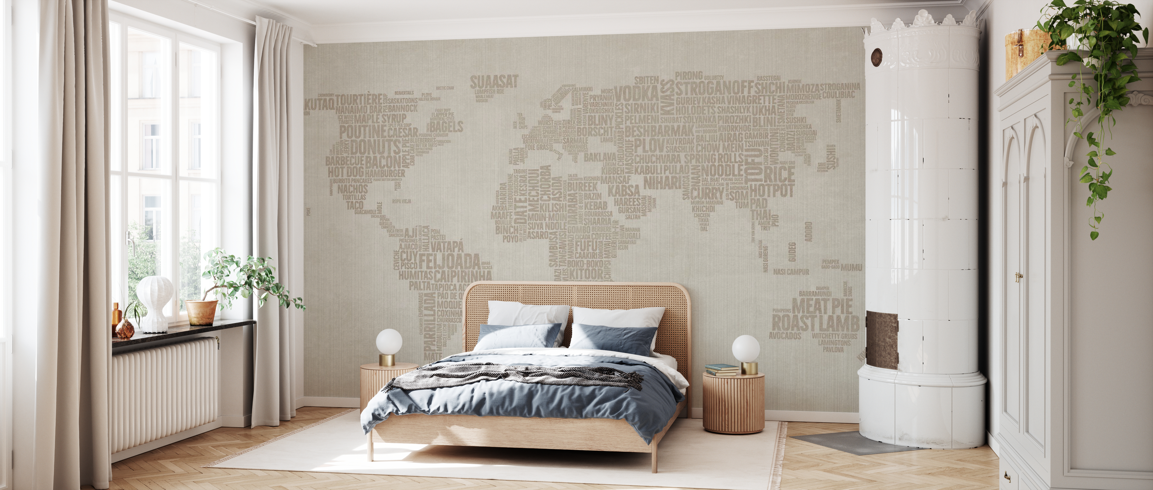 World Menu Map Beige Fototapeten Online Photowall