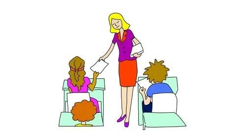 Animated drawing of teacher handing out paper quiz test to students