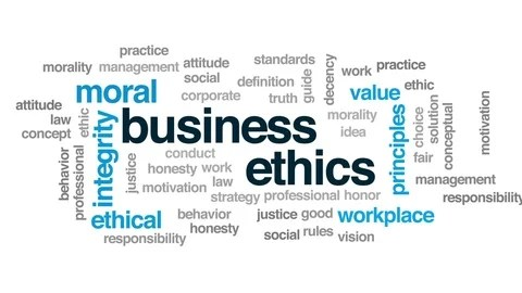 Business ethics animated word cloud, text design animation ~ Clip