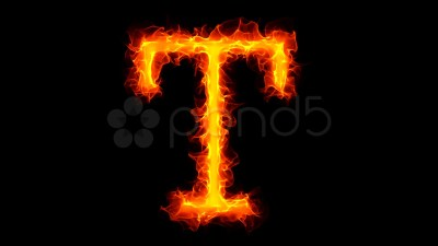 Fire letter T HD ~ High Resolution ~ Hi Res Video #886966