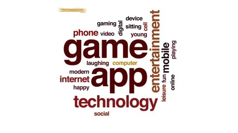 Game app animated word cloud, text design animation ~ Clip #80956302