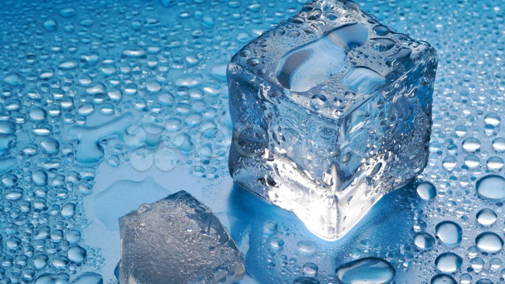3d Cube Desktop Wallpaper Melting Ice Cube On Blue Background Stock Video 8697075