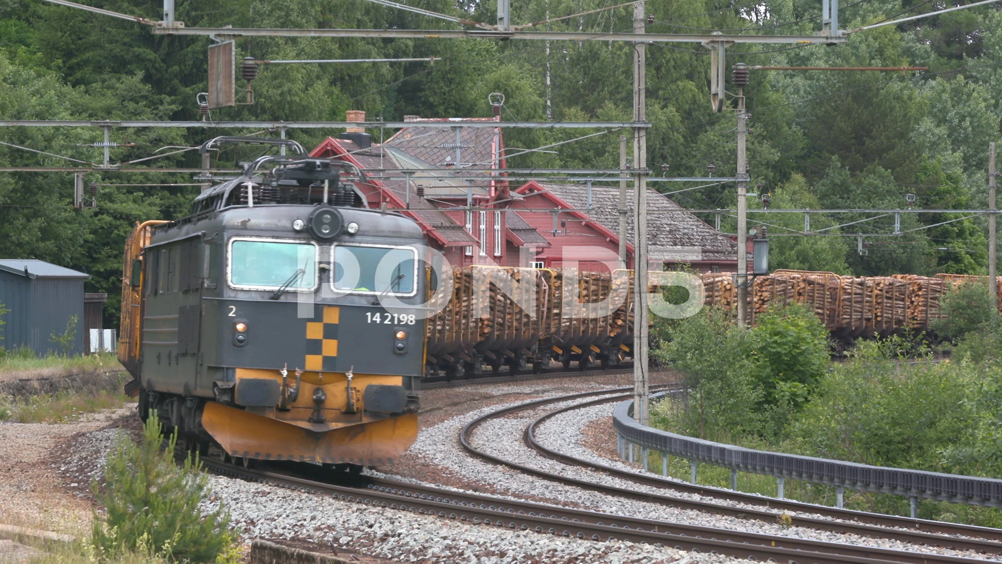 Norway Train Norway Railway Cargo Logging Train Passing Old Station Video