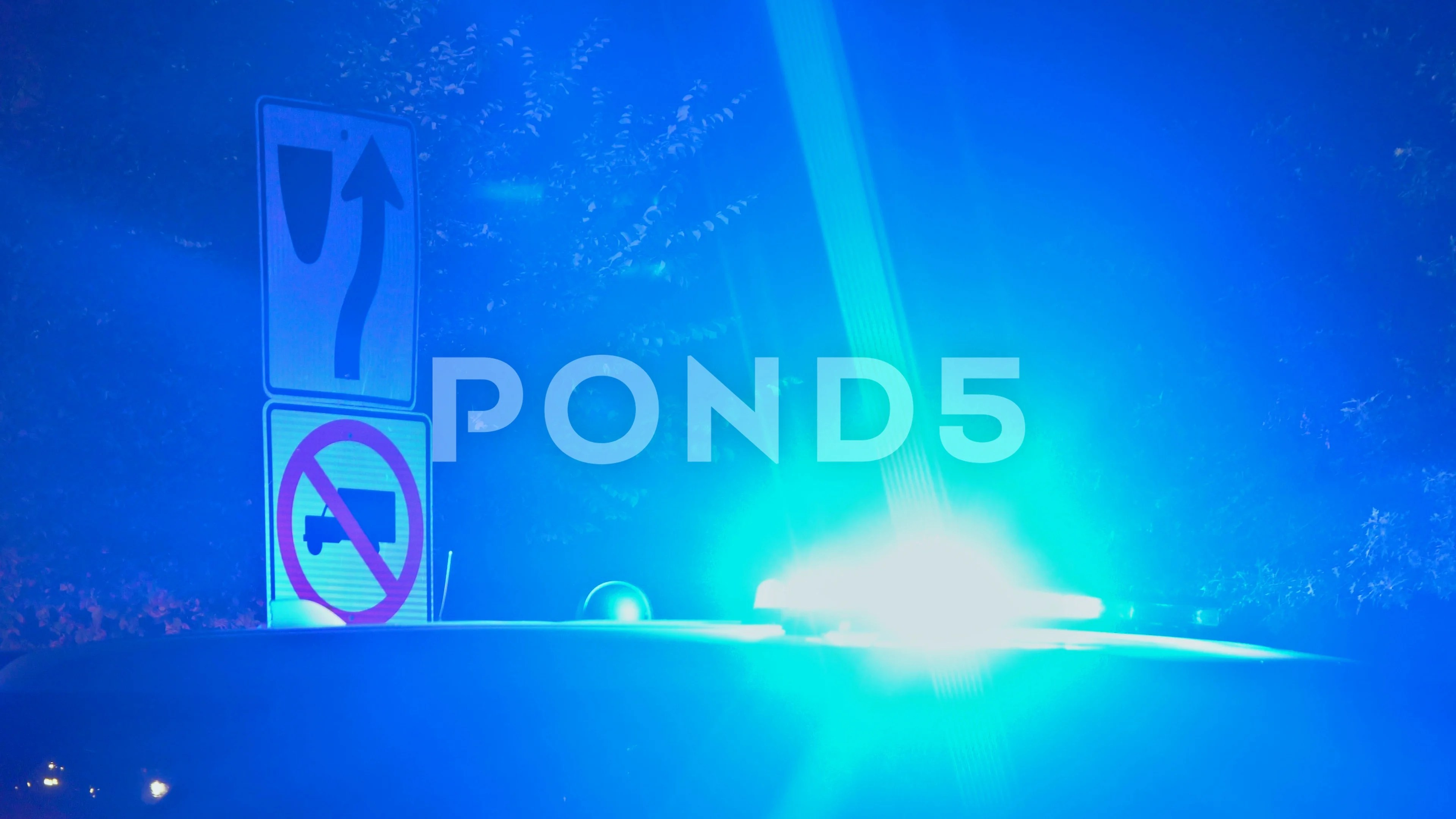 Police Lights In Flashing At Night Stock Video Pond5