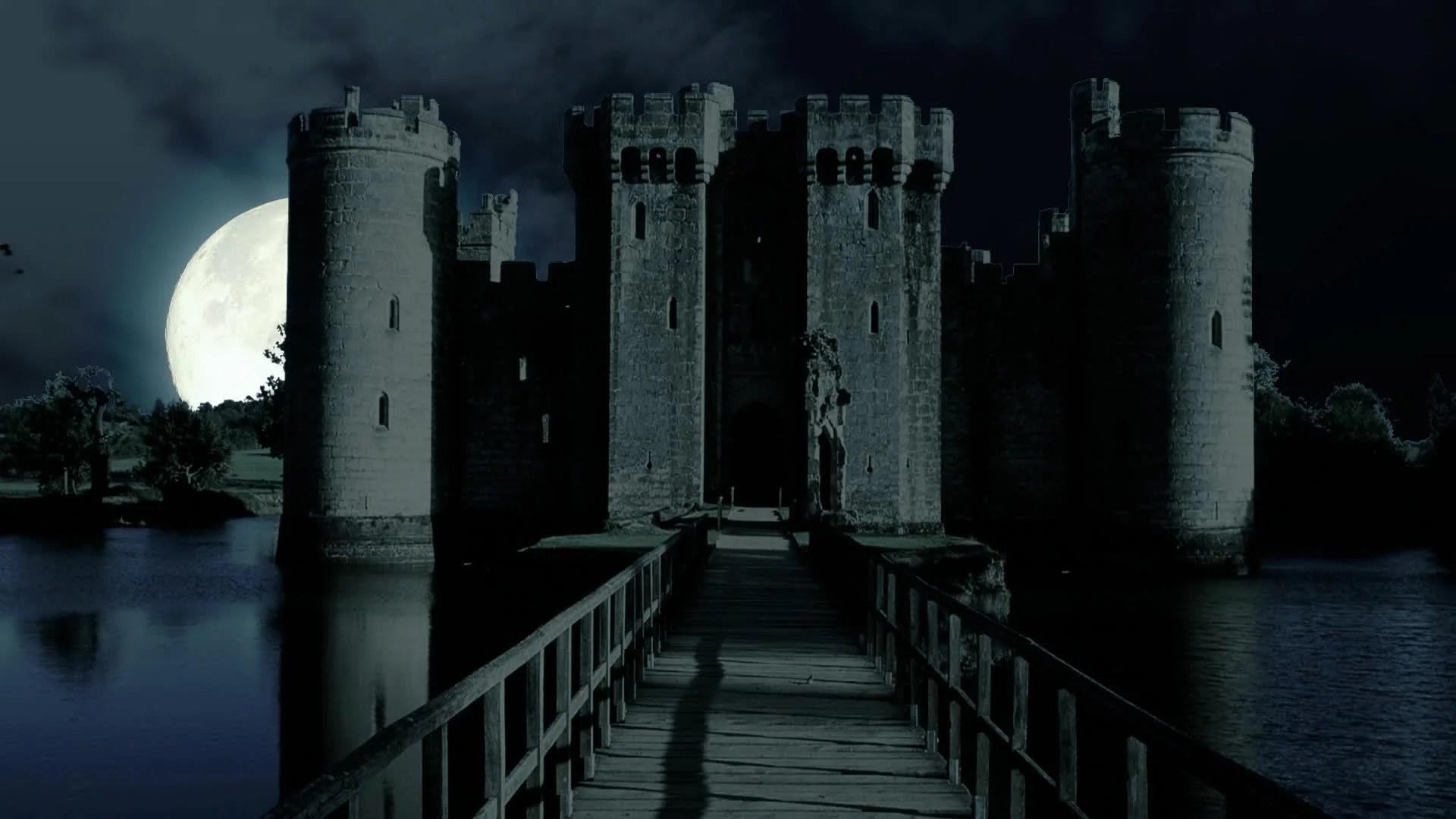 Night Sky 3d Wallpaper Scary Full Moon Over Evil Demon Vampire Castle Horror