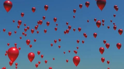 A sky full of red balloons floating upwards ~ Clip #12036162