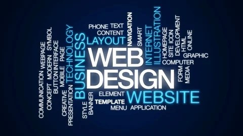 Video Web design animated word cloud, text design animation