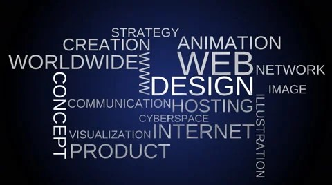 Web design tag word cloud animation - blue background ~ Video #49551005