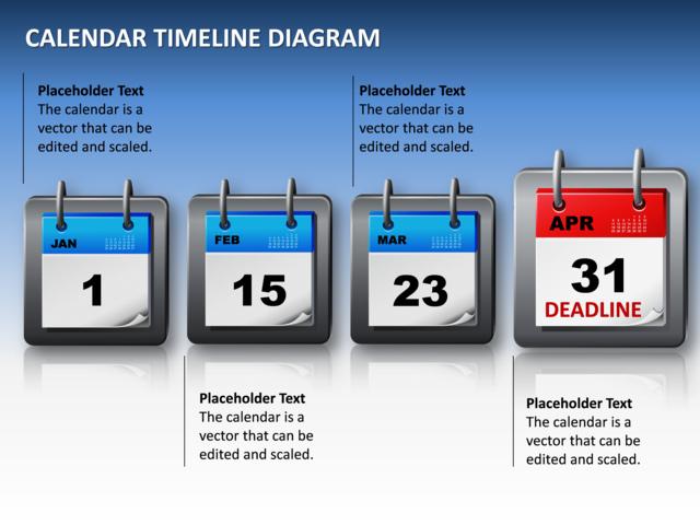 Calendars California Courts Powerpoint Slide Calendar Timeline Diagram 3d Blue