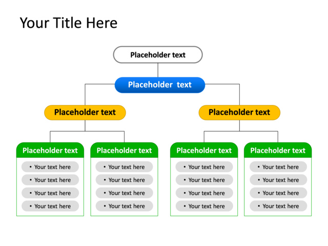 PowerPoint Slide - Diagram Hierarchy - Multicolor - 7 Departments