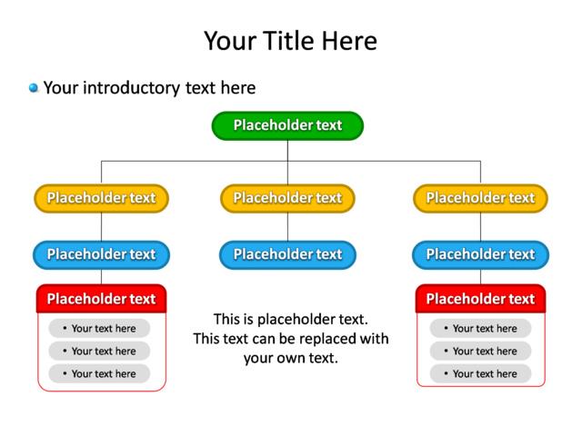 PowerPoint Slide - Diagram Hierarchy - Multicolor - 8 Departments