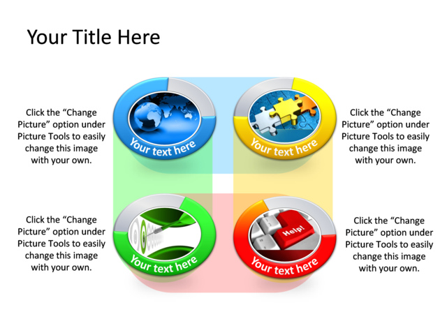 PowerPoint Slide - Diagram SWOT Analysis - Multicolor - 4 Circles